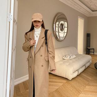 金苏一 卡其色毛呢外套女冬季韩版加厚毛呢西装中长款羊毛大衣潮