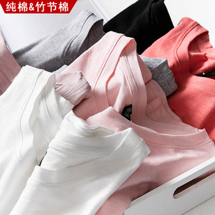 夏装纯棉短袖t恤女2019韩范竹节棉宽松衣服半袖纯色大码上衣