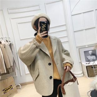 羊绒外套女秋冬装羊毛短款外套2018人字纹加厚双面尼大衣