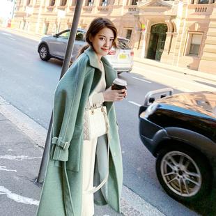 我是阿式 2018冬季女装 中长款收腰羊毛毛呢大衣呢子外套