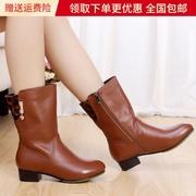 破晓春秋女靴子中筒靴真皮中跟单靴大码女鞋4143中靴秋靴春款皮靴