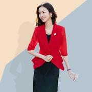 红色百搭短款外套雪纺小西装女夏季披肩防晒开衫薄款西服外搭8909