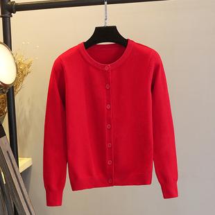 春季红色针织外套女2018短款小开衫毛衣外搭圆领百搭上衣