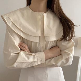韩国chic小众百搭双层娃娃领单排扣上衣宽松纯色压褶泡泡袖衬衫女
