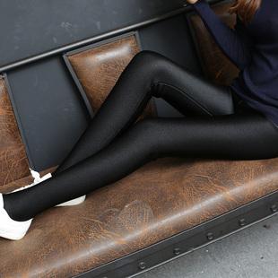 光泽裤打底裤女外穿踩脚加厚加绒高腰薄款保暖棉大码秋冬2018