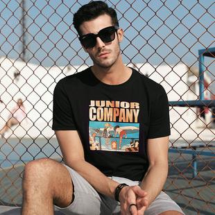 纯棉t恤男士短袖潮流圆领上衣白夏季打底衫男装体恤夏天