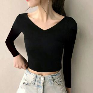 短款高腰漏脐鸡心大双V领口前后露背纯棉紧身长袖打底衫t恤女上衣
