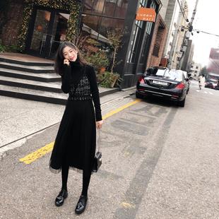 2018秋冬女装网纱拼接黑色法式复古裙中长款收腰吊带裙连衣裙