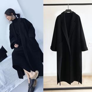 手工双面羊绒大衣女冬装廓形oversize超长款过膝系带毛呢外套开叉