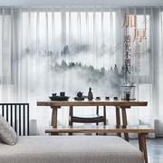 窗纱水墨山水新中式雪纺纱透光不透人卧室客厅阳台免打孔挂钩窗帘