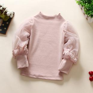 童装秋季女童纯棉高领网纱泡泡袖长袖T恤儿童百搭打底衫上衣