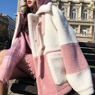 Q女家加绒羊羔毛皮毛一体外套女秋冬季2018流行小个子大衣女短款