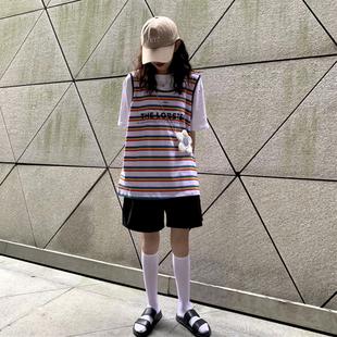 泫雅彩虹条纹背心上衣+纯色百搭圆领短袖2019时尚网红两件套