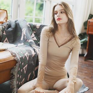 保暖内衣女薄款秋衣秋裤蕾丝发热棉毛衫低领美体肉色套装冬季