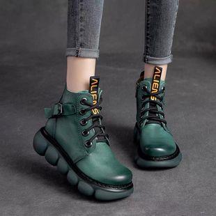 2021手工复古真皮厚底坡跟马丁靴秋冬皮带扣休闲短靴松糕女鞋