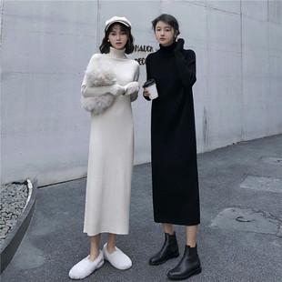 秋冬季高领毛衣裙女加厚中长款针织裙宽松过膝长袖打底连衣裙