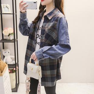 拼接牛仔衬衫女长袖2021早春韩版宽松设计感小众上衣格子外套