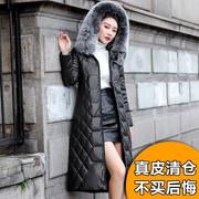 2018海宁皮衣真皮羽绒服女中长款狐狸毛领绵羊皮保暖外套