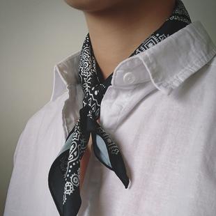 陈智文男士小方巾围巾手腕发带复古嘻哈风男女通用小丝巾领巾潮