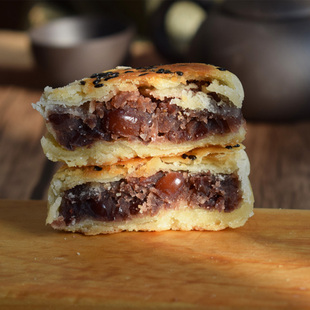 红豆饼酥皮糕点豆沙馅南京特产好吃的低甜手工馅饼地方特色330g