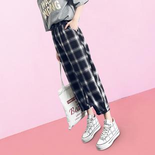 格子裤女宽松黑白夏季2019高腰薄款直筒阔腿垂感裤子