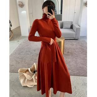 ADA MISS高领过膝毛衣裙女秋冬中长款收腰打底羊毛针织连衣裙