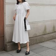 赫本风个性褶皱白色立领连衣裙女 长款2019春秋女装两穿裙子