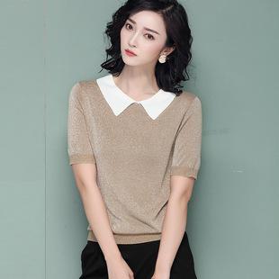 夏季冰丝针织衫女套头宽松短袖t恤薄款娃娃衫t恤短款上衣