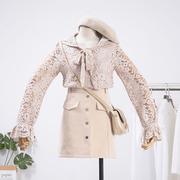 君的秘密 K28 秋季女装连帽长袖镂空蕾丝钩花上衣C1
