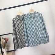 夏2019长袖格子衬衫棉质英伦风格翻领简约单排扣百搭衬衣