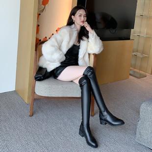 长筒靴女2021过膝长靴皮面加绒高筒靴真皮平底显瘦弹力靴子女