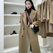 2020年秋冬季驼色双面羊绒大衣女中长款茧型高端羊毛呢子外套