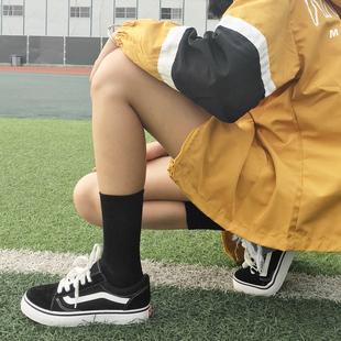 黑色袜子女中筒袜薄款夏季长袜日系ins潮街头堆堆袜短白色夏天