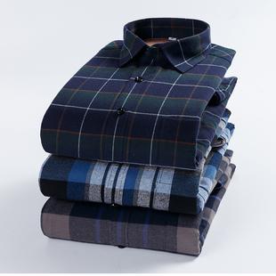 2018男士加绒加厚保暖衬衫中年格子秋冬男款大码衬衣长袖衬衫
