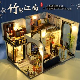 中国风diy小屋别墅手工制作房子模型古风建筑拼装创意生日礼物女