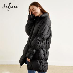 伊芙丽冬装黑色外套立领宽松加厚羽绒服女