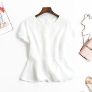 气质名媛三醋酸缎面衬衫女短款荷叶边收腰修身短袖白色上衣夏季