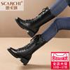 思卡琪马丁靴潮女短靴头层牛皮英伦风前系带中跟军靴大码女鞋