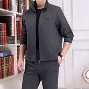 男士运动套装 春季长袖长裤两件套 休闲翻领黑色灰色外套