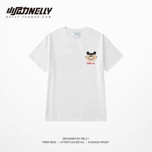 韩国卡通嘻哈男女情侣装春夏装宽松白色短袖T恤纯棉半袖BF风上衣