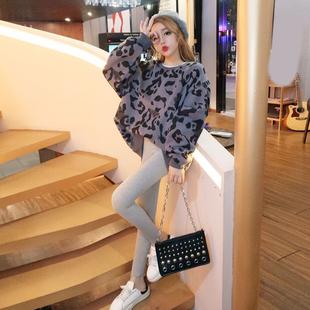 时尚套装女冬季chic宽松假两件套头豹纹卫衣+高腰显瘦打底裤
