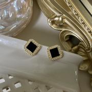 法式经典S925银针珍珠方形黑色耳钉简约气质轻奢适合冬天的耳环女
