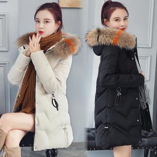 2018冬装棉衣女中长款加厚宽松大毛领百搭羽绒棉袄外套潮