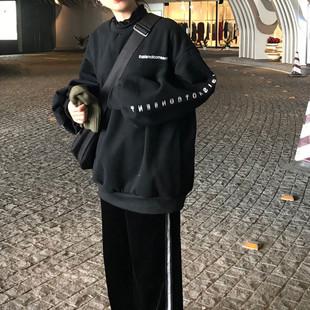 秋冬女装宽松BF风字母印花长袖卫衣气质情侣款套头上衣外套