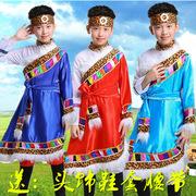 儿童藏族演出服中小学生少数民族舞蹈服装幼儿园蒙古舞台表演服饰