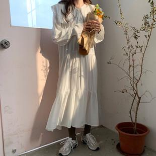 冬季女装chic百搭宽松甜美娃娃领荷叶边中长款雪纺打底连衣裙