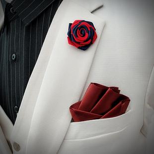 送胸针 免折口袋巾男士西装礼服英伦纯色方巾直插成型结婚口袋巾