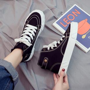 2019春季高帮帆布鞋女鞋百搭黑色布鞋网红街拍小黑板鞋子
