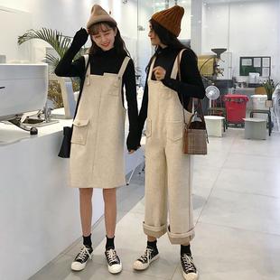 秋冬女装宽松背带裤连体裤高腰阔腿裤裤长裤+闺蜜背带裙