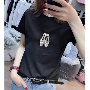 2021春夏女装欧货纯棉修身短袖百搭上衣时尚高跟鞋镶钻T恤潮